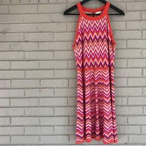 👗 TRINA TURK CHEVRON PRINT SWEATER SUMMER DRESS L